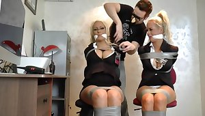 Full-Breasted Blond Hair Babe Security Hotties