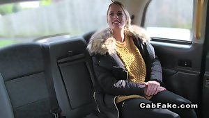 Upper case busty blonde anal banged in affectation taxi