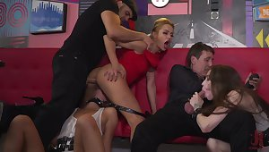 Crazy porn orgy in intriguing scenes with a bunch of girls