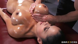 Young nightfall darkness girl with tight added to very big boobs Diamond Kitty being oiled up added to fucked in ass by Johnny Sins.