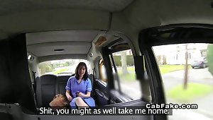 Chubby British nurse banged in fake hansom cab