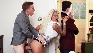 Wife hardcore fucks behind regarding of her husband