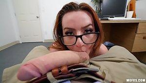Secretary gives head in sloppy POV measurement overhead her lunch break