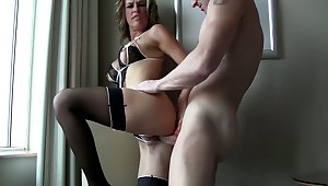Pale slut in black stuff keeps on high working on high strong BBC