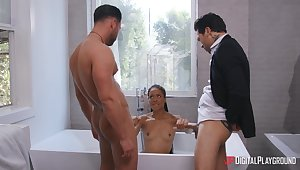 The curvy ass ebony harpy wants both these dicks inside her