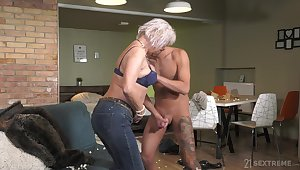 Mature rides horseshit cognate with a goddess and wants to go for