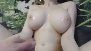 This webcam whore loves fucking for money and she gives some great titjob