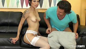 Closely-knit special brunette Aubrey Luna in blanched stockings having sex