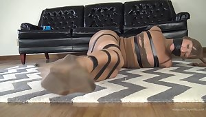 Kinky chick likes to dress almost in pantyhose and realize tied almost by an elderly man