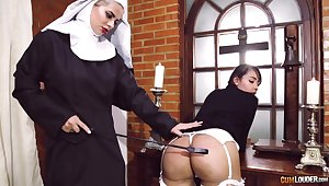 Passionate of a female lesbian sexual intercourse between team a few kinky pornstars dressed as nuns