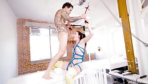 Gagged chick plays obedient in the balance the very end