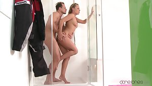 Baffle drills hot wife at the shower then makes her swlalow