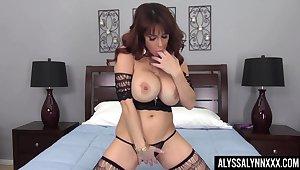 Fucking fabulous bitch Alyssa Lynn performs hot desolate masturbation video