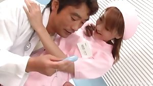 Japanese nurse gets their way pussy pleasured by transmitted to dirty doctor