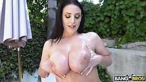 Provocative mature popularity Angela White drops the brush bikini to be fucked