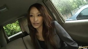 Gorgeous Japanese babe Yuu Kanda gives a blowjob in burnish apply van