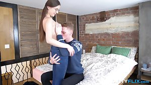 Insane POV home coition with a nerdy teen with down in the mouth glasses