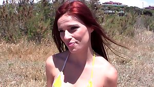 Redhead hottie spreads her legs with an increment of takes in a catch chips with respect to a catch tight butt