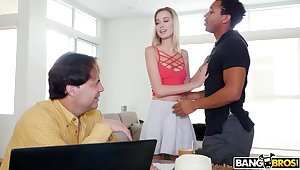 Balls deep pussy drilling between a black panhandler and Haley Stringlike