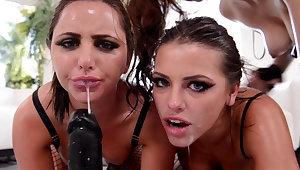 Dishevelled girls salivation