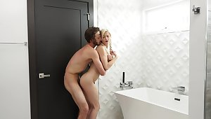 Pig tailed girl fucked in the bathroom and made to swallow