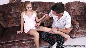 Inked teen gives a blowjob and gets fucked hard on be transferred to first date