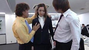 Bukkake ending for skinny Japanese secretary charges wild fucking