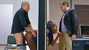 Insatiable executives ravaged catch- bootylicious dark-hued far the wall
